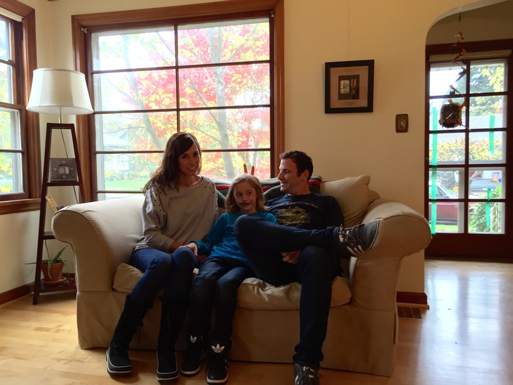 At home: Jennifer, Charlie and Matthew